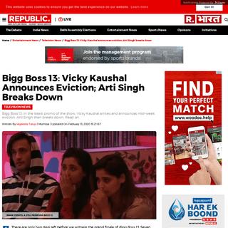 Bigg Boss 13- Vicky Kaushal announces eviction; Arti Singh breaks down - Republic World