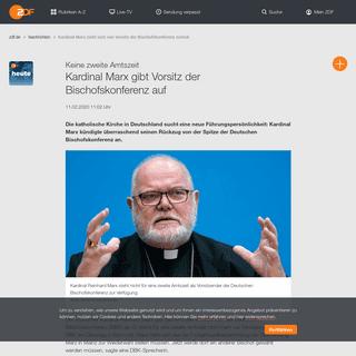 Kardinal Marx zieht sich von Vorsitz der Bischofskonferenz zurück - ZDFheute
