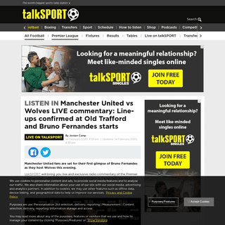 Manchester United vs Wolves LIVE commentary- Line-ups confirmed at Old Trafford and Bruno Fernandes starts