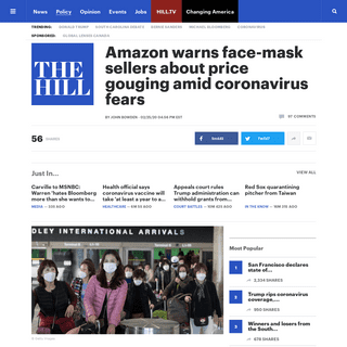 Amazon warns face-mask sellers about price gouging amid coronavirus fears - TheHill
