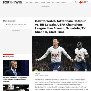 ArchiveBay.com - ftw.usatoday.com/2020/02/how-to-watch-tottenham-hotspur-vs-rb-leipzig-uefa-champions-league-live-stream-schedule-tv-channel-start-time - Tottenham Hotspur vs. RB Leipzig Live Stream- TV Channel, How to Watch