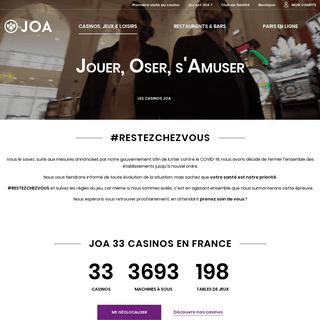 JOA - Casinos Jeux & Loisirs - Black Jack, Poker, Machines à Sous, Paris en ligne, Restaurants, Spectacles - JOA