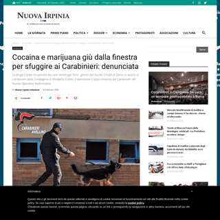 Cocaina e marijuana giù dalla finestra per sfuggire ai Carabinieri- denunciata - Nuova Irpinia