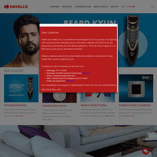 Havells India - Fans, Home & Kitchen Appliances, Led Lights, Personal Grooming