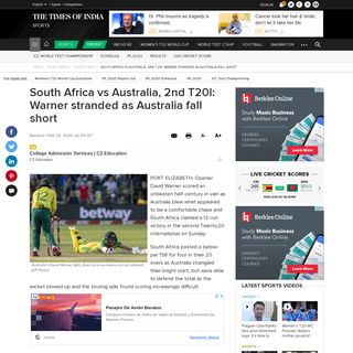 ArchiveBay.com - timesofindia.indiatimes.com/sports/cricket/australia-in-south-africa/south-africa-vs-australia-2nd-t20i-warner-stranded-as-australia-fall-short/articleshow/74272883.cms - South Africa vs Australia, 2nd T20I- Warner stranded as Australia fall short - Cricket News - Times of India