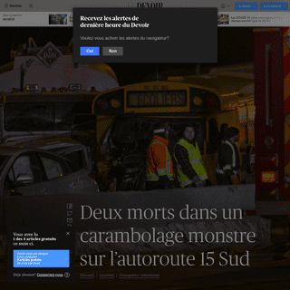 ArchiveBay.com - www.ledevoir.com/societe/transports-urbanisme/573275/l-autoroute-15-est-fermee-en-raison-d-un-carambolage-majeur - Deux morts dans un carambolage monstre sur l'autoroute15 Sud - Le Devoir