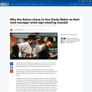 Why the Astros chose to hire Dusty Baker as their next manager amid sign-stealing scandal - CBSSports.com