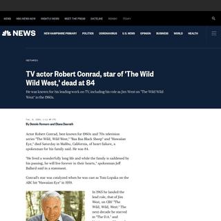 TV actor Robert Conrad, star of 'The Wild Wild West,' dead at 84