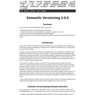 Semantic Versioning 2.0.0 - Semantic Versioning