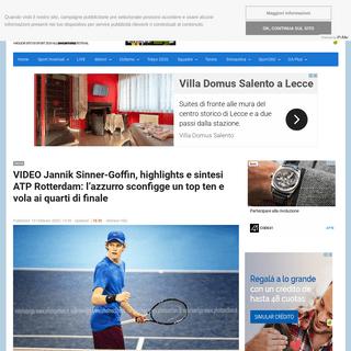 VIDEO Jannik Sinner-Goffin, highlights e sintesi ATP Rotterdam- l'azzurro sconfigge un top ten e vola ai quarti di finale –