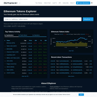 Ethplorer — Ethereum tokens explorer and data viewer. Top tokens, Charts, Pulse, Analytics