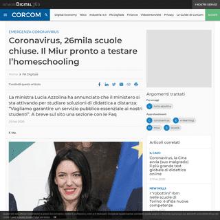 Coronavirus, 26mila scuole chiuse. Il Miur pronto a testare l'homeschooling - CorCom