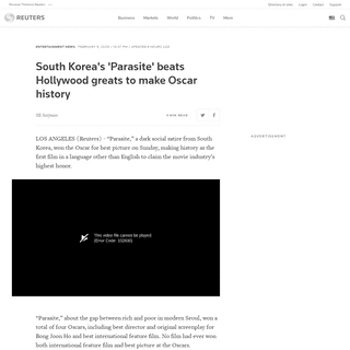ArchiveBay.com - www.reuters.com/article/us-awards-oscars/laura-dern-brad-pitt-win-first-acting-oscars-obamas-film-makes-academy-awards-debut-idUSKBN2030TC - South Korea's 'Parasite' beats Hollywood greats to make Oscar history - Reuters