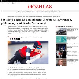 ArchiveBay.com - www.irozhlas.cz/sport/zimni-sporty/martina-sablikova-rychlobrusleni-svetovy-rekord-mistrovstvi-sveta_2002152117_jgr - Sáblíková zajela na pětikilometrové trati světový rekord, překonala ji však Ruska Voroninová - iROZHLAS - spolehlivé
