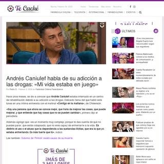 Andrés Caniulef habla de su adicción a las drogas- -Mi vida estaba en juego- - TeCache.cl