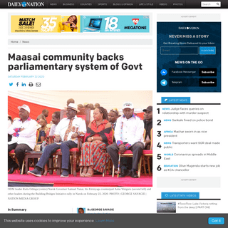 Maasai community backs parliamentary system of Govt - Daily Nation