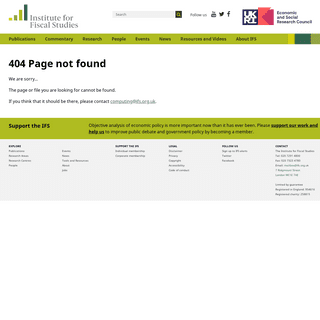 Oops, error - Institute For Fiscal Studies - IFS