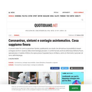Coronavirus, sintomi e contagio asintomatico. Cosa sappiamo finora - Cronaca - quotidiano.net
