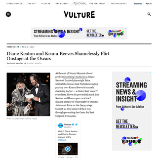 Watch Diane Keaton & Keanu Reeves Flirt at Oscars 2020