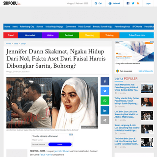 Jennifer Dunn Skakmat, Ngaku Hidup Dari Nol, Fakta Aset Dari Faisal Harris Dibongkar Sarita, Bohong- - Sriwijaya Post