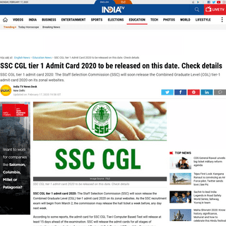 SSC CGL tier 1 Admit Card 2020 to be released on this date. Check details - Education News – India TV