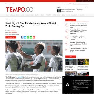 Hasil Liga 1- Tira Persikabo vs Arema FC 0-2, Yudo Borong Gol - Bola Tempo.co