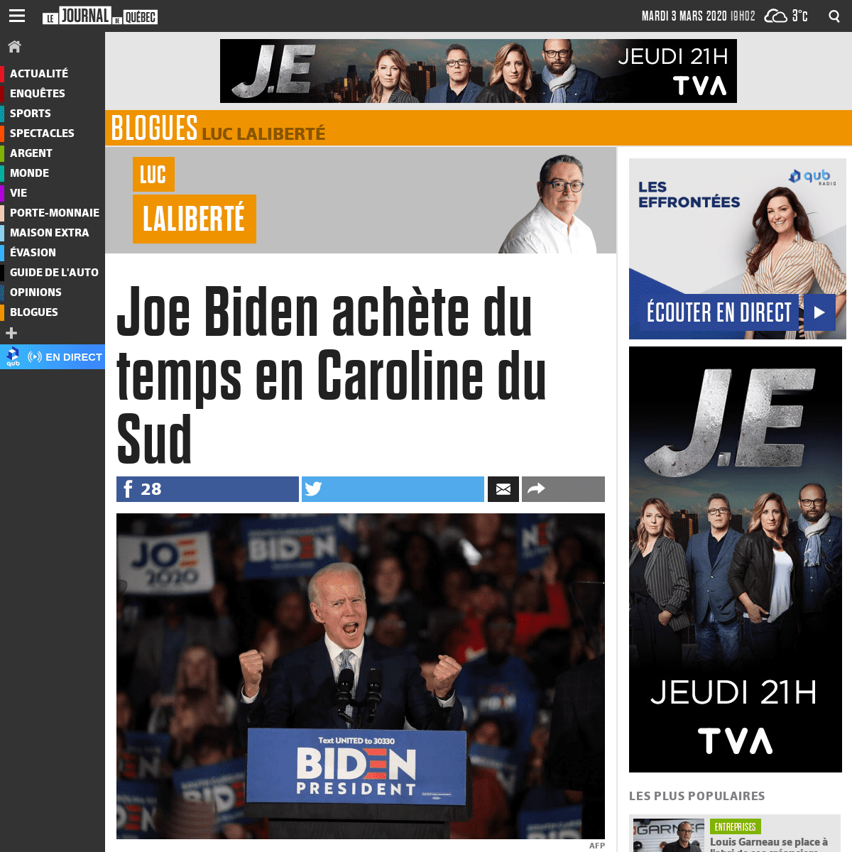 Joe Biden achète du temps en Caroline du Sud - JDQ