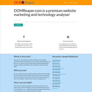 DOMReaper.com is a free website marketing and technology analyser