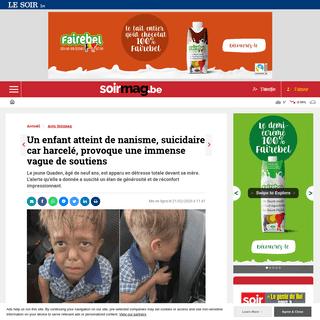 Un enfant atteint de nanisme, suicidaire car harcelé, provoque une immense vague de soutiens - Soirmag