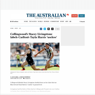 ArchiveBay.com - www.theaustralian.com.au/sport/afl/collingwoods-stacey-livingstone-labels-carltons-tayla-harris-useless/news-story/d76303e219175b2a93d1f6ea1333ae17 - Collingwood's Stacey Livingstone labels Carlton's Tayla Harris 'useless'