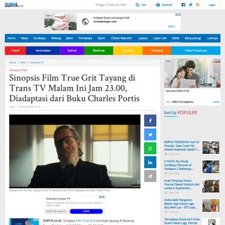 Sinopsis Film True Grit Tayang di Trans TV Malam Ini Jam 23.00, Diadaptasi dari Buku Charles Portis - Surya