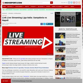 Link Live Streaming Liga Italia- Sampdoria vs Napoli - INDOSPORT