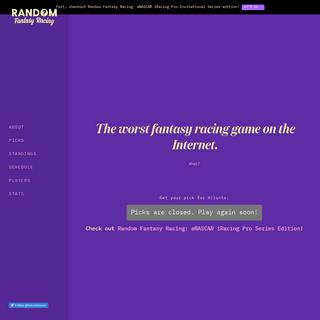 Random Fantasy Racing · Easy, Free NASCAR Fantasy Racing Game