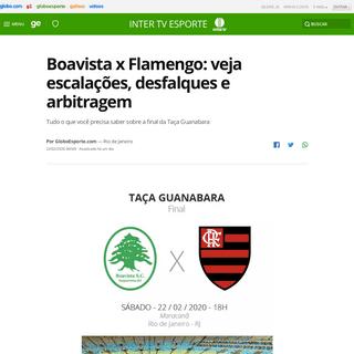 Boavista x Flamengo- veja escalações, desfalques e arbitragem - serra lagos norte - Globoesporte