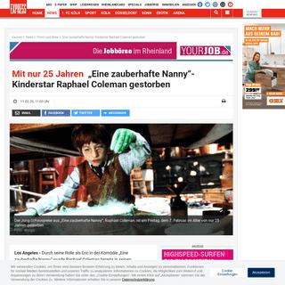 Eine zauberhafte Nanny- Kinderstar Raphael Coleman gestorben - Express.de