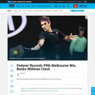 Roger Federer Records 99th Melbourne Win, Books Millman Clash - ATP Tour - Tennis