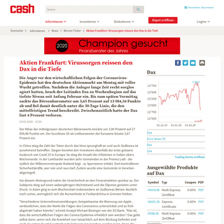 Aktien Frankfurt- Virussorgen reissen den Dax in die Tiefe - News - cash