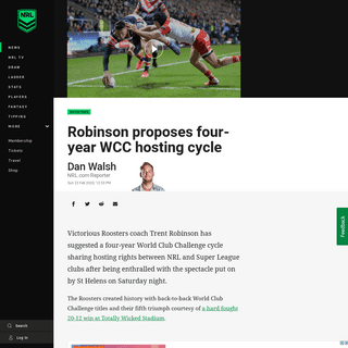 ArchiveBay.com - www.nrl.com/news/2020/02/23/robinson-proposes-four-year-wcc-hosting-cycle/ - World Club Challenge 2020- Roosters' Trent Robinson proposes new format - NRL