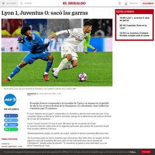 Lyon 1, Juventus 0- sacó las garras - El Heraldo