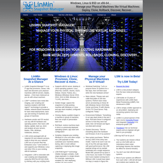 LinMin Snapshot Manager - Bare Metal Provisioning, Cloning &, Rollback using Imaging and Scripting for Windows, Linux & more
