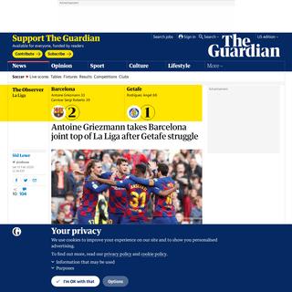 Antoine Griezmann takes Barcelona joint top of La Liga after Getafe struggle - Football - The Guardian