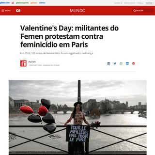 Valentine's Day- militantes do Femen protestam contra feminicídio em Paris - Mundo - G1