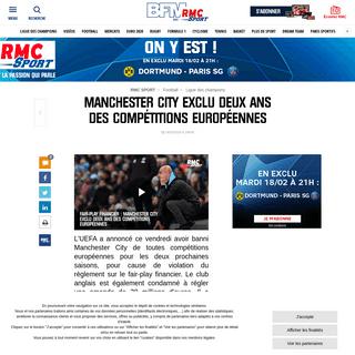 Manchester City exclu deux ans des compétitions européennes