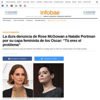 """La dura denuncia de Rose McGowan a Natalie Portman por su capa feminista de los Oscar- """"Tú eres el problema"""" - Infobae"""