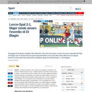 Lecce-Spal 2-1, Majer rende amaro l'esordio di Di Biagio - la Repubblica