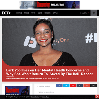 ArchiveBay.com - www.bet.com/celebrities/news/2020/02/19/lark-voorhies-on-her-mental-health-concerns-and-why-she-wont-ret.html - Lark Voorhies on Her Mental Health Concerns and Why She Won't Return To 'Saved By The Bell' Reboot - BET
