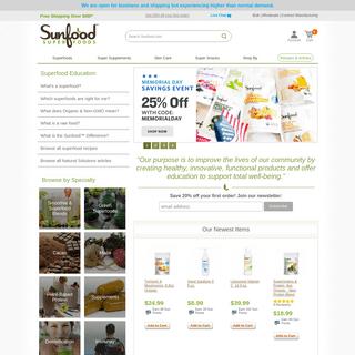 Sunfood Superfoods - Organic, Non-GMO, Raw - Sunfood.com