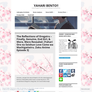 YAHARI BENTO!! – Anime-Manga-LN with too much toppings in one bento box.