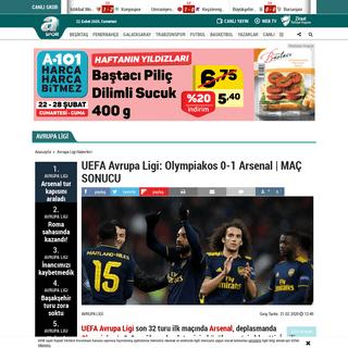 ArchiveBay.com - www.aspor.com.tr/avrupa-ligi/2020/02/21/uefa-avrupa-ligi-olympiakos-0-1-arsenal-mac-sonucu - UEFA Avrupa Ligi- Olympiakos 0-1 Arsenal - MAÇ SONUCU - Aspor