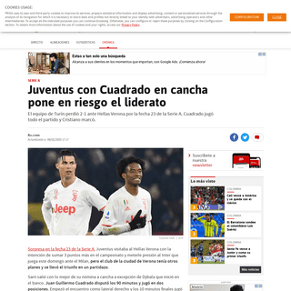 Juventus con Cuadrado en cancha pone en riesgo el liderato - AS Colombia